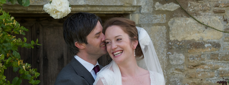 Bride and groom at Cotswold wedding